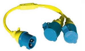 CABLE ADAPTATEUR DOUBLE SPLITTER 16A 250V CEE - 2XCEE